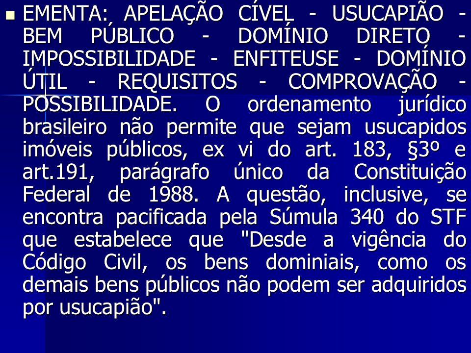 EMENTA: APELAÇÃO CÍVEL - USUCAPIÃO - BEM PÚBLICO - DOMÍNIO DIRETO - IMPOSSIBILIDADE - ENFITEUSE - DOMÍNIO ÚTIL - REQUISITOS - COMPROVAÇÃO - POSSIBILID