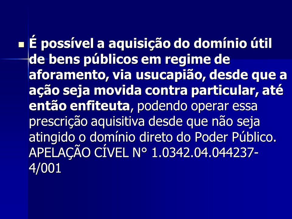 É possível a aquisição do domínio útil de bens públicos em regime de aforamento, via usucapião, desde que a ação seja movida contra particular, até en
