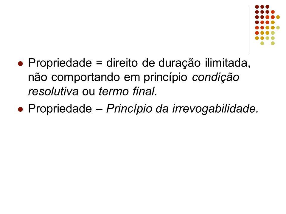 Propriedade = direito de duração ilimitada, não comportando em princípio condição resolutiva ou termo final.