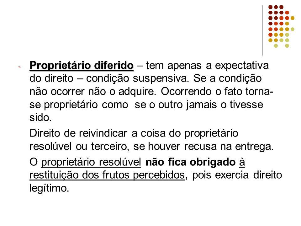 - Proprietário diferido - Proprietário diferido – tem apenas a expectativa do direito – condição suspensiva.