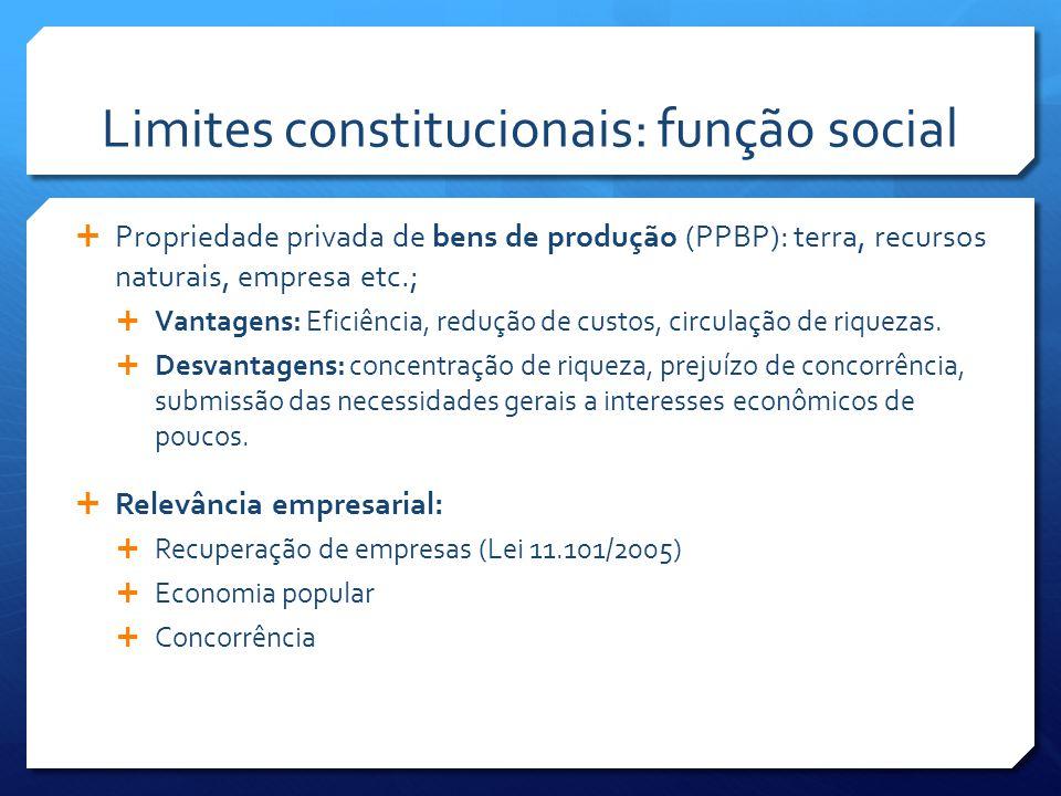 Limites constitucionais: função social  Propriedade privada de bens de produção (PPBP): terra, recursos naturais, empresa etc.;  Vantagens: Eficiência, redução de custos, circulação de riquezas.