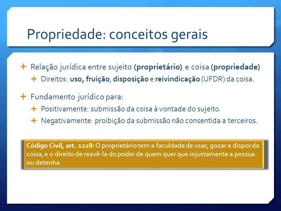 Propriedade: conceitos gerais  Relação jurídica entre sujeito (proprietário) e coisa (propriedade)  Direitos: uso, fruição, disposição e reivindicação (UFDR) da coisa.