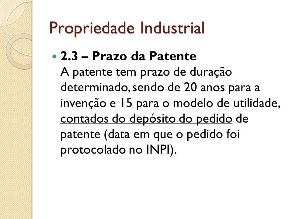 Propriedade Industrial 2.3 – Prazo da Patente A patente tem prazo de duração determinado, sendo de 20 anos para a invenção e 15 para o modelo de utili