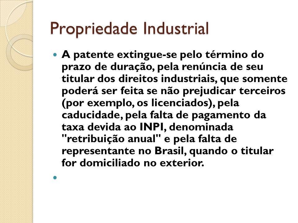 Propriedade Industrial A patente extingue-se pelo término do prazo de duração, pela renúncia de seu titular dos direitos industriais, que somente pode