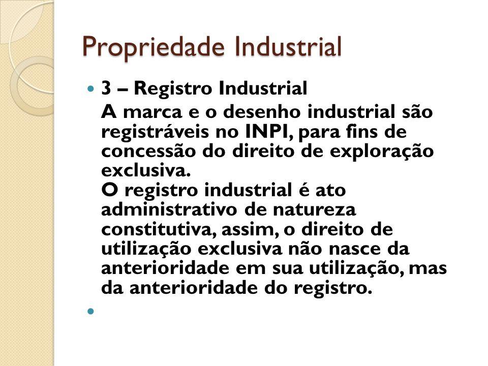Propriedade Industrial 3 – Registro Industrial A marca e o desenho industrial são registráveis no INPI, para fins de concessão do direito de exploraçã