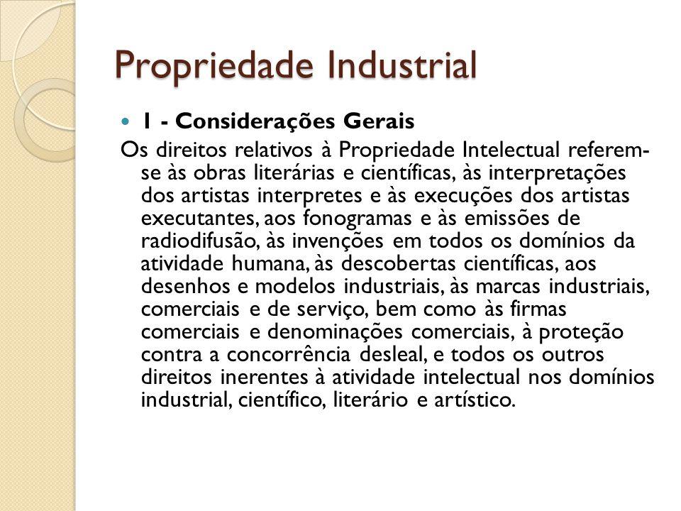 Propriedade Industrial 1 - Considerações Gerais Os direitos relativos à Propriedade Intelectual referem- se às obras literárias e científicas, às inte