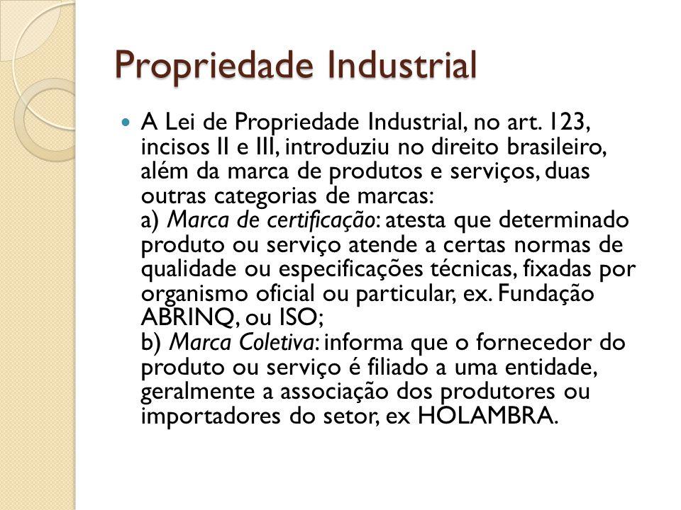Propriedade Industrial A Lei de Propriedade Industrial, no art. 123, incisos II e III, introduziu no direito brasileiro, além da marca de produtos e s