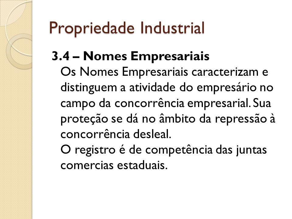 Propriedade Industrial 3.4 – Nomes Empresariais Os Nomes Empresariais caracterizam e distinguem a atividade do empresário no campo da concorrência emp