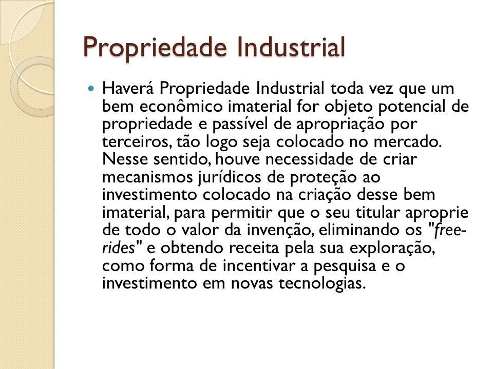 Propriedade Industrial Haverá Propriedade Industrial toda vez que um bem econômico imaterial for objeto potencial de propriedade e passível de apropri
