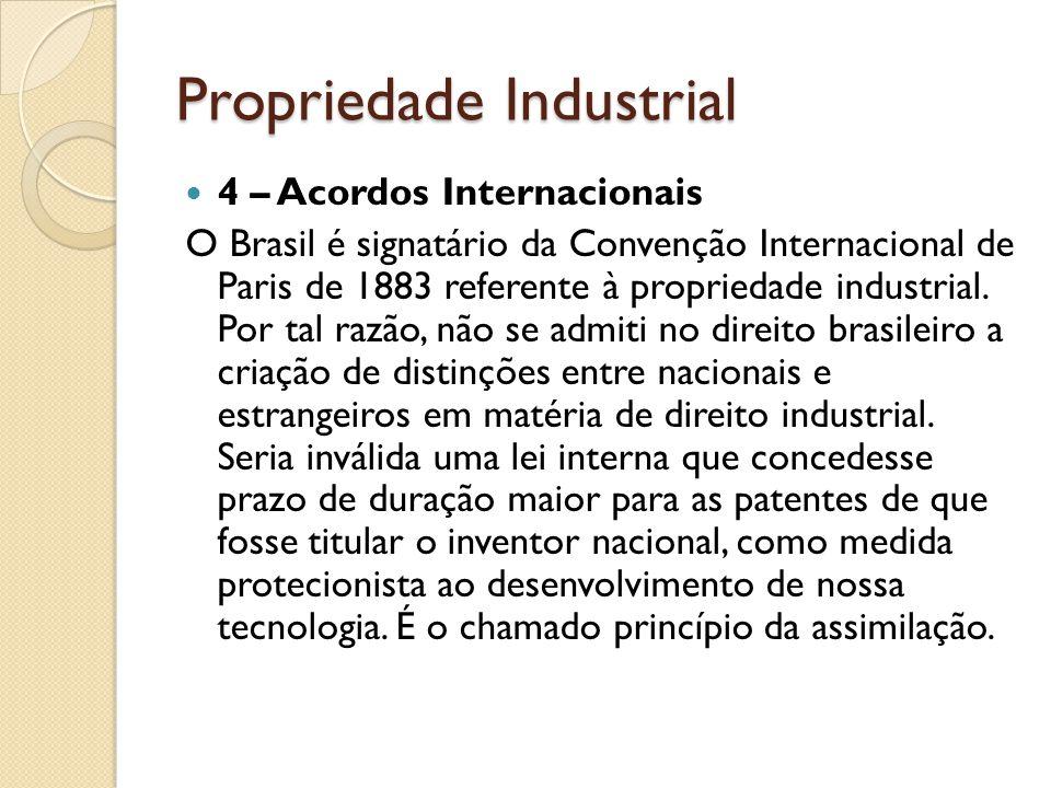 Propriedade Industrial 4 – Acordos Internacionais O Brasil é signatário da Convenção Internacional de Paris de 1883 referente à propriedade industrial