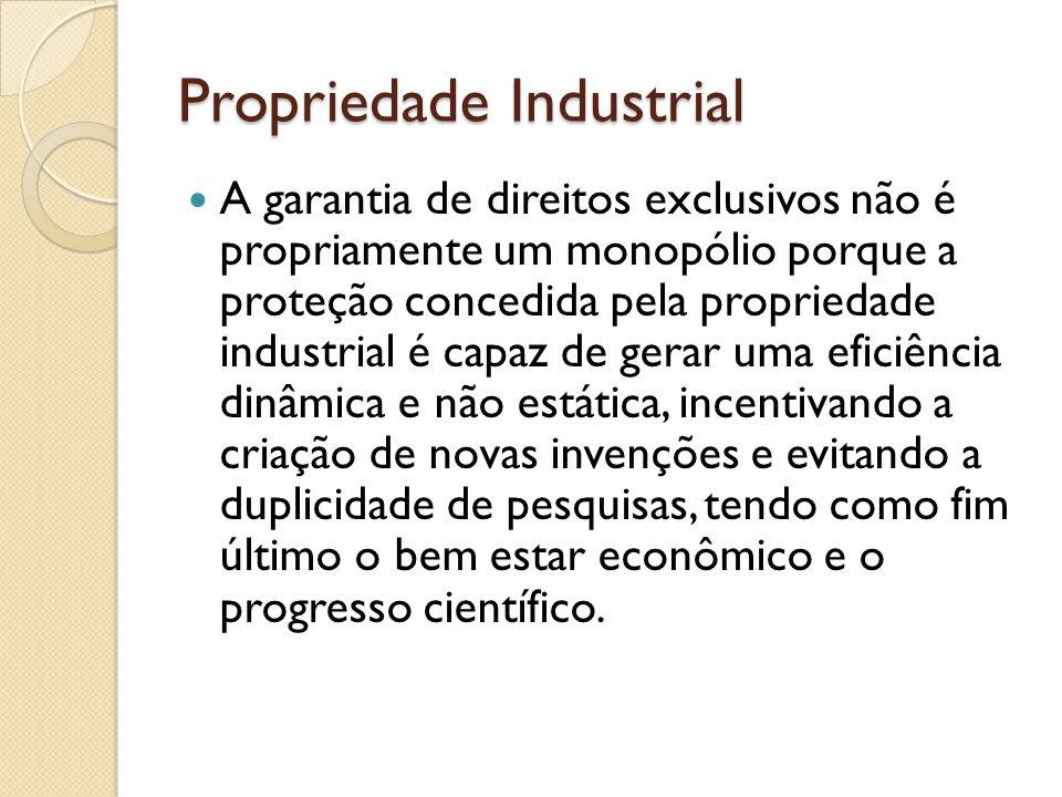 Propriedade Industrial A garantia de direitos exclusivos não é propriamente um monopólio porque a proteção concedida pela propriedade industrial é cap