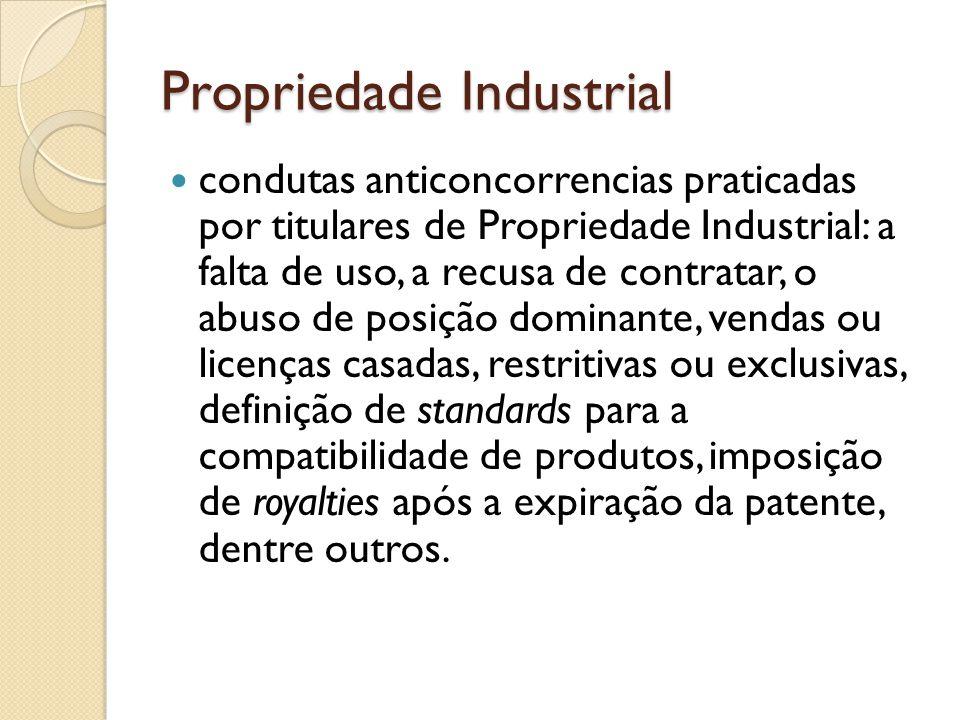 Propriedade Industrial condutas anticoncorrencias praticadas por titulares de Propriedade Industrial: a falta de uso, a recusa de contratar, o abuso d