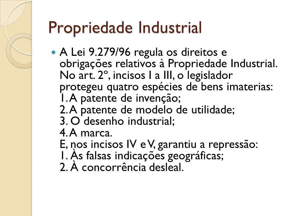 Propriedade Industrial O registro dos bens industriais deve ser requerido no Instituto Nacional de Propriedade Industrial (INPI – autarquia federal) e somente após o ato concessivo correspondente é que nasce o direito à exploração econômica com exclusividade.