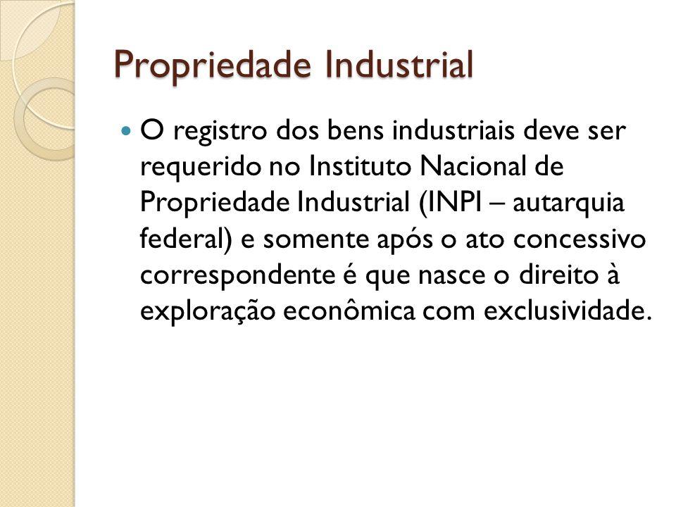 Propriedade Industrial O registro dos bens industriais deve ser requerido no Instituto Nacional de Propriedade Industrial (INPI – autarquia federal) e
