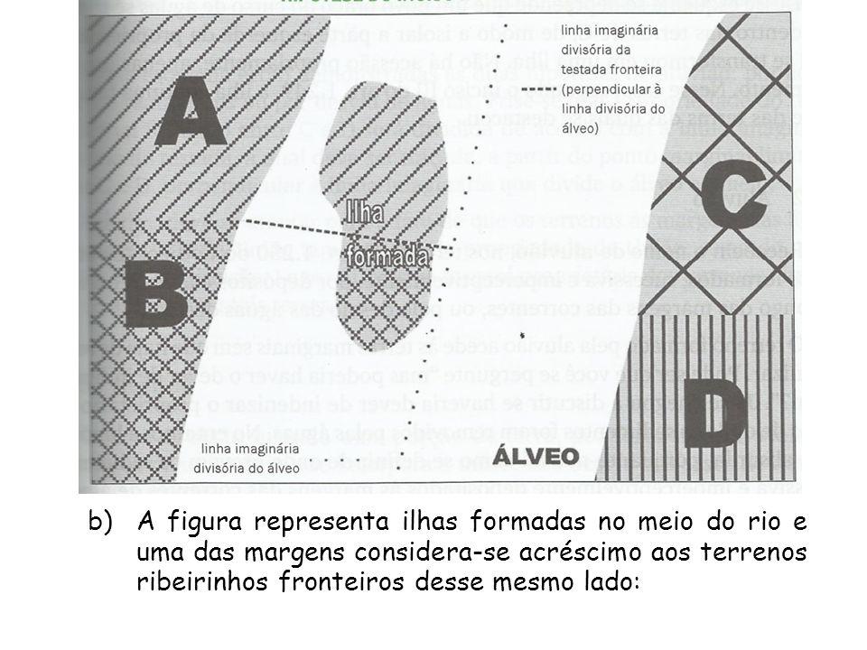 b)A figura representa ilhas formadas no meio do rio e uma das margens considera-se acréscimo aos terrenos ribeirinhos fronteiros desse mesmo lado:
