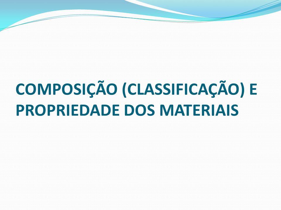 COMPOSIÇÃO (CLASSIFICAÇÃO) E PROPRIEDADE DOS MATERIAIS