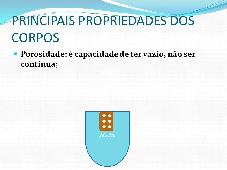 ÁGUA PRINCIPAIS PROPRIEDADES DOS CORPOS Porosidade: é capacidade de ter vazio, não ser contínua;