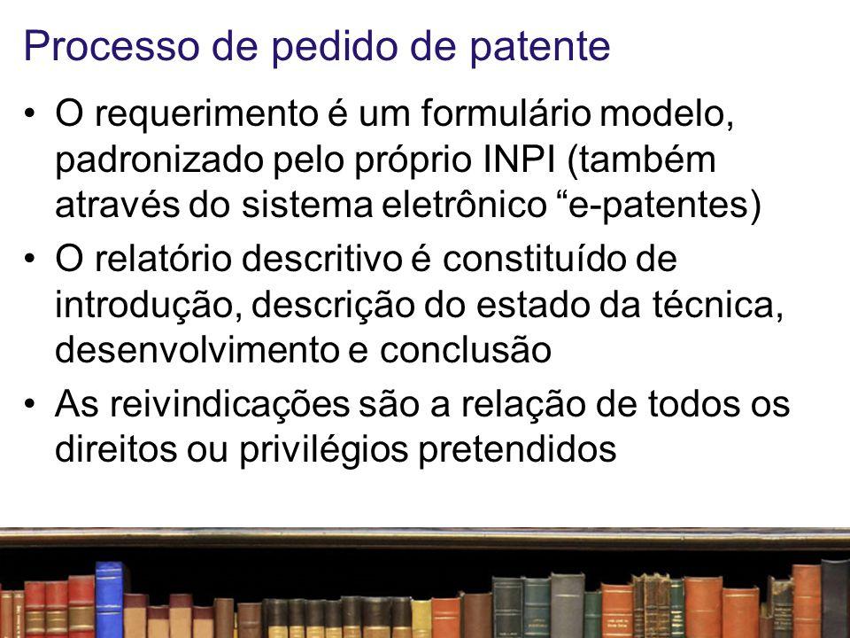 Processo de pedido de patente Os desenhos servem para melhor ilustrar o objeto do pedido O resumo é a parte final do documento de depósito de patente, e serve de referência para pesquisas no estado da técnica