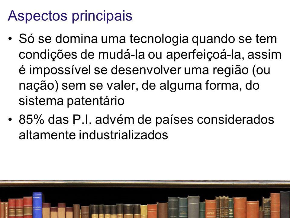 Aspectos principais Um sistema patentário sólido traz duas principais consequências: –Encoraja o empreendedor a investir em P&D (Pesquisa e Desenvolvimento) –Gera tranquilidade na comunidade científica com a garantia de que seu trabalho contará com efetiva proteção