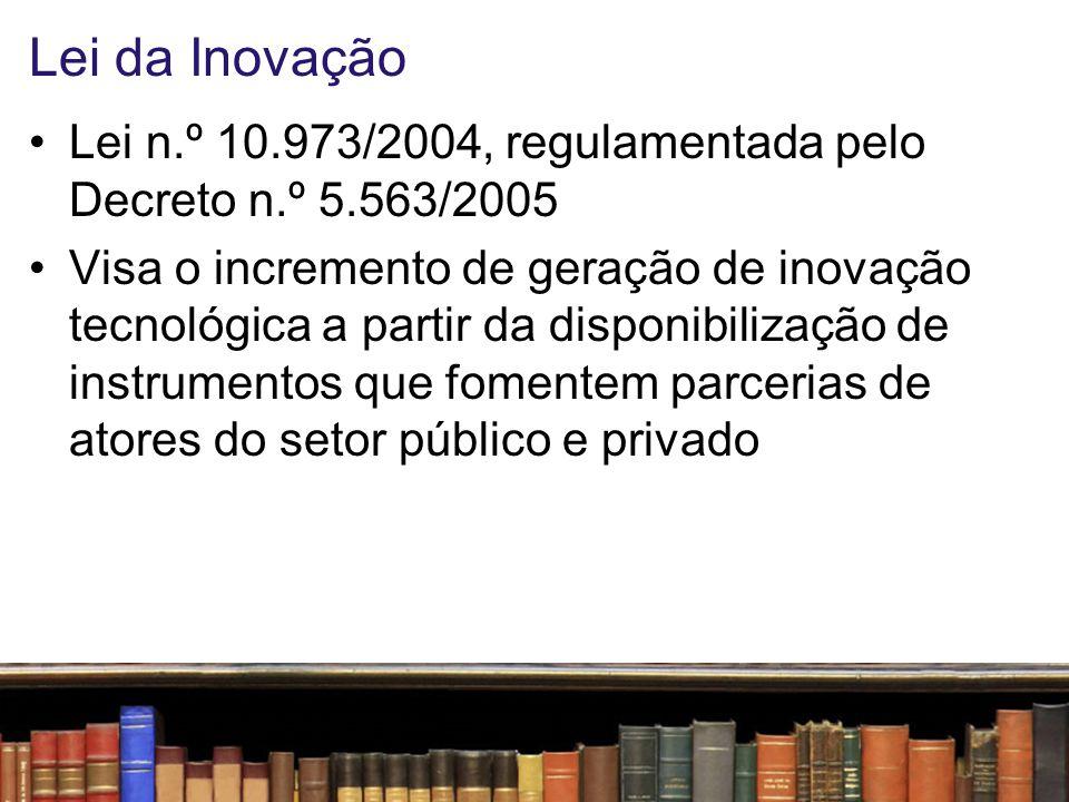 Lei da Inovação Desafio: Todas as ICTs devem ter seu Núcleo de Inovação Tecnológica – NIT Oportunidade: Urgente formação de recursos humanos em Gestão da Propriedade Intelectual e Comercialização de Tecnologia Novas possibilidades –Oferta pública – e não mais licitação – para licenciamento de tecnologia gerada em instituições públicas