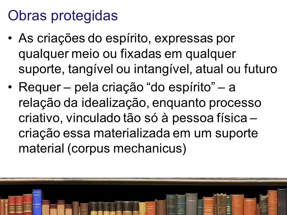 Obras protegidas Assim, não há proteção para as ideias (de per si), mas para a expressão dessas, para a sua concepção estética, materializada na obra intelectual Independe do mérito.
