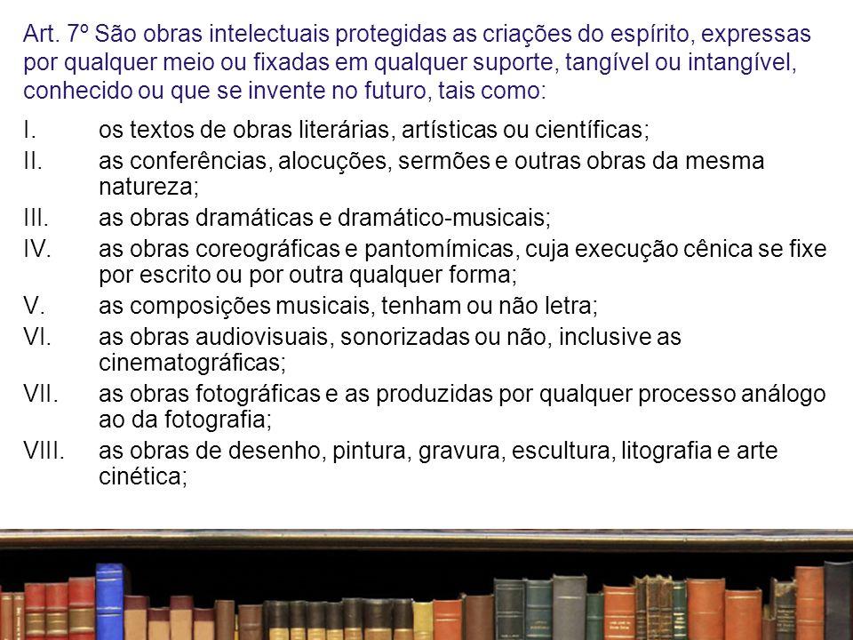 Art. 7º São obras intelectuais protegidas as criações do espírito, expressas por qualquer meio ou fixadas em qualquer suporte, tangível ou intangível,
