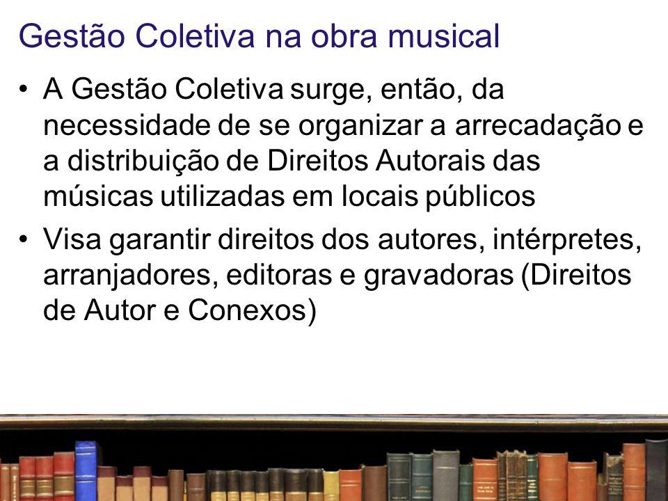 Modelo nacional No Brasil, a Gestão Coletiva é feita pelo Escritório Central de Arrecadação e Distribuição, instituição privada, sem fins lucrativos, instituída pela Lei nº.