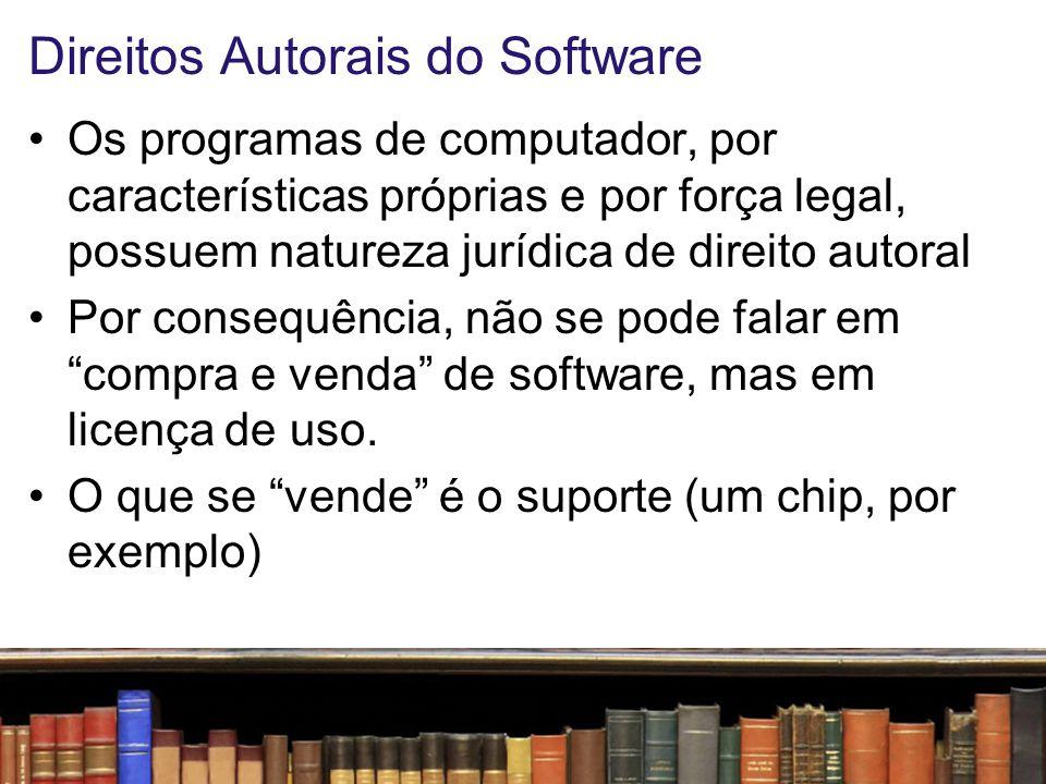 Direitos Autorais do Software Tipos de desenvolvedor –autônomo/empresa –contratado para trabalho sob encomenda (aqui, há um tratamento diferenciado)
