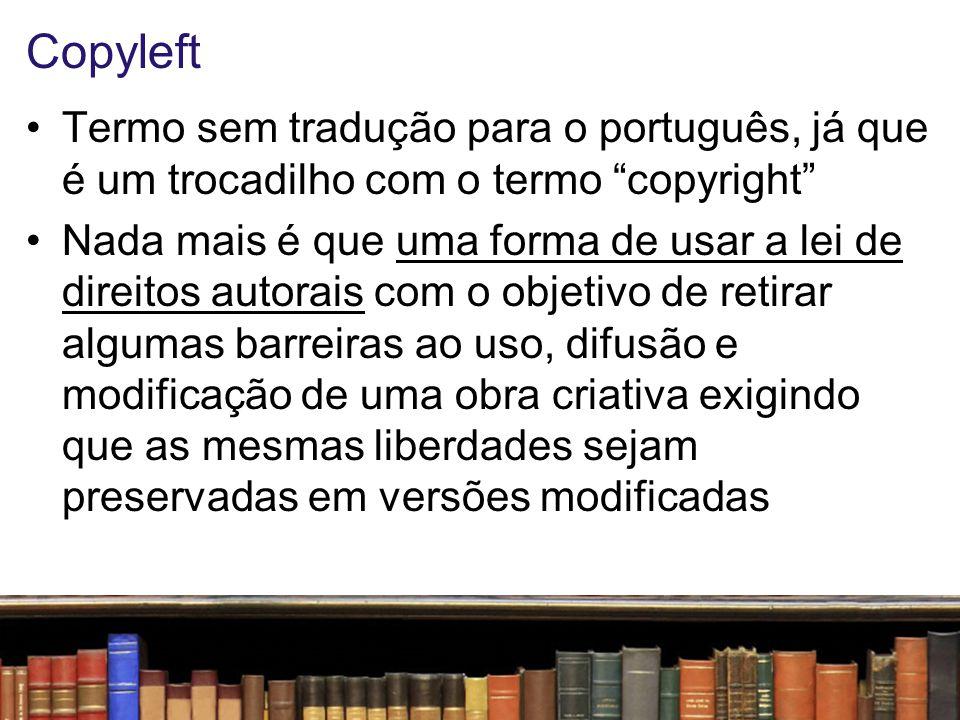 Copyleft O copyleft não é um anti-direito , sobretudo porque ele só se sustenta por base nos próprios princípios jurídicos do direito de autor As chamadas 4 liberdades do software livre são regras necessariamente garantidas pelos elementos do direito de propriedade, assim como também o são as formas de violação