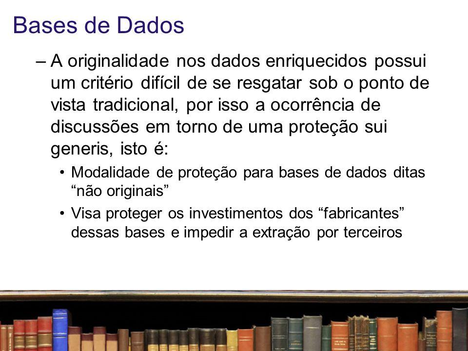 Bases de Dados A proteção das bases de dados está prevista na Lei nº 9.610/98 (artigo 7º, inciso XIII e § 2º e artigo 87), proporcionando a essas, assim como às compilações de obras diversas, a qualidade de criações intelectuais pela seleção e a disposição das matérias, protegendo, portanto, a classificação e os elementos preexistentes