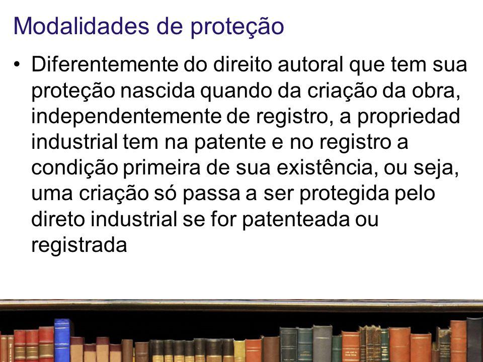 Modalidades de proteção Essas modalidades aparecem assim, não como uma faculdade do inventor ou empresário, mas como a condição essencial de se garantir algum privilégio Em outras palavras, sem a carta patente ou o certificado de registro não há propriedade industrial!