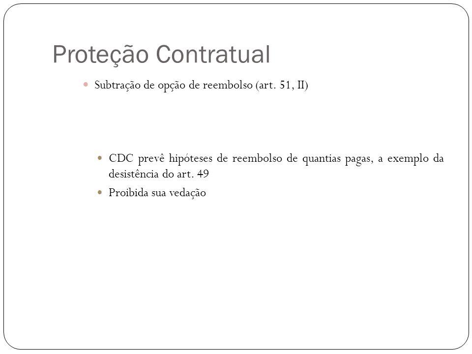 Proteção Contratual Subtração de opção de reembolso (art. 51, II) CDC prevê hipóteses de reembolso de quantias pagas, a exemplo da desistência do art.
