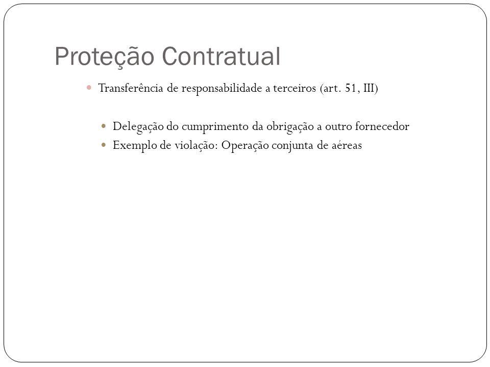 Proteção Contratual Transferência de responsabilidade a terceiros (art. 51, III) Delegação do cumprimento da obrigação a outro fornecedor Exemplo de v