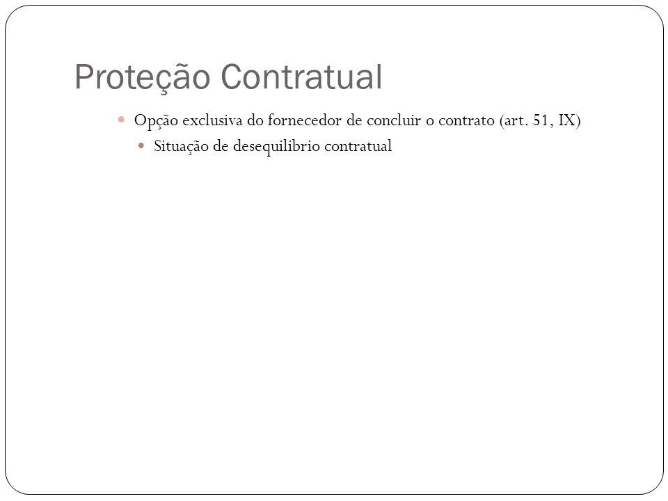 Proteção Contratual Opção exclusiva do fornecedor de concluir o contrato (art. 51, IX) Situação de desequilibrio contratual