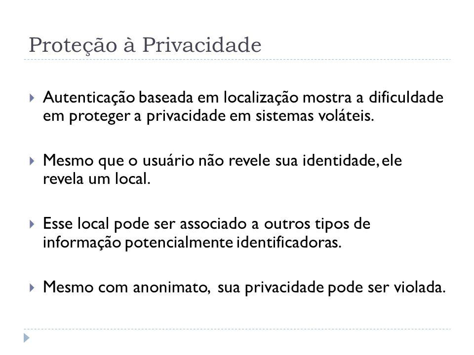 Proteção à Privacidade  Autenticação baseada em localização mostra a dificuldade em proteger a privacidade em sistemas voláteis.