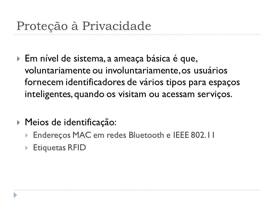 Proteção à Privacidade  Em nível de sistema, a ameaça básica é que, voluntariamente ou involuntariamente, os usuários fornecem identificadores de vários tipos para espaços inteligentes, quando os visitam ou acessam serviços.
