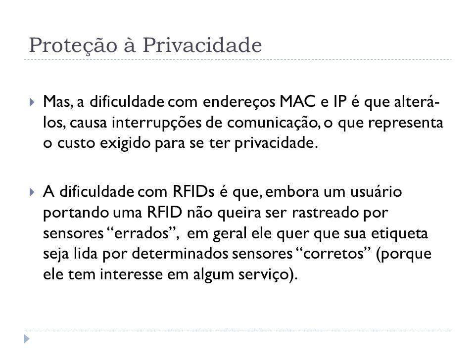 Proteção à Privacidade  Mas, a dificuldade com endereços MAC e IP é que alterá- los, causa interrupções de comunicação, o que representa o custo exigido para se ter privacidade.