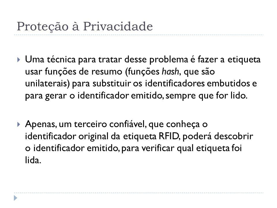 Proteção à Privacidade  Uma técnica para tratar desse problema é fazer a etiqueta usar funções de resumo (funções hash, que são unilaterais) para substituir os identificadores embutidos e para gerar o identificador emitido, sempre que for lido.