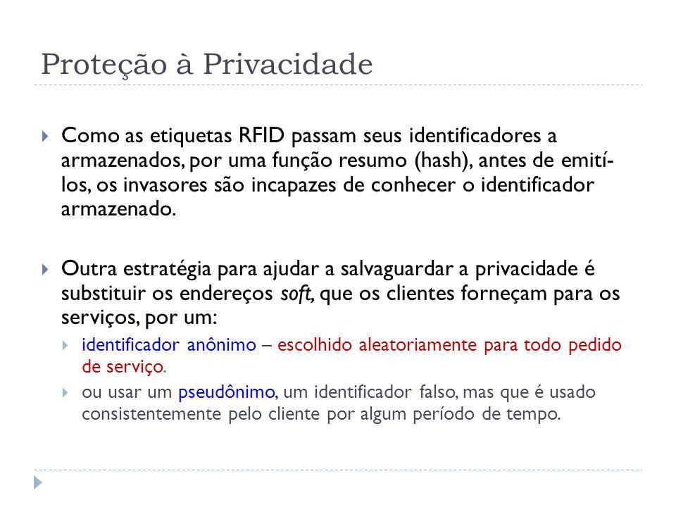 Proteção à Privacidade  Como as etiquetas RFID passam seus identificadores a armazenados, por uma função resumo (hash), antes de emití- los, os invasores são incapazes de conhecer o identificador armazenado.