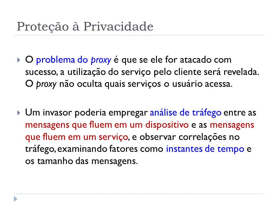 Proteção à Privacidade  O problema do proxy é que se ele for atacado com sucesso, a utilização do serviço pelo cliente será revelada.