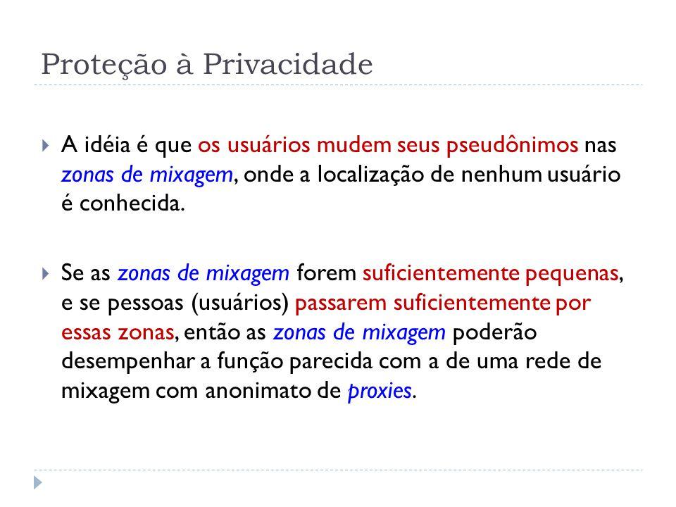 Proteção à Privacidade  A idéia é que os usuários mudem seus pseudônimos nas zonas de mixagem, onde a localização de nenhum usuário é conhecida.