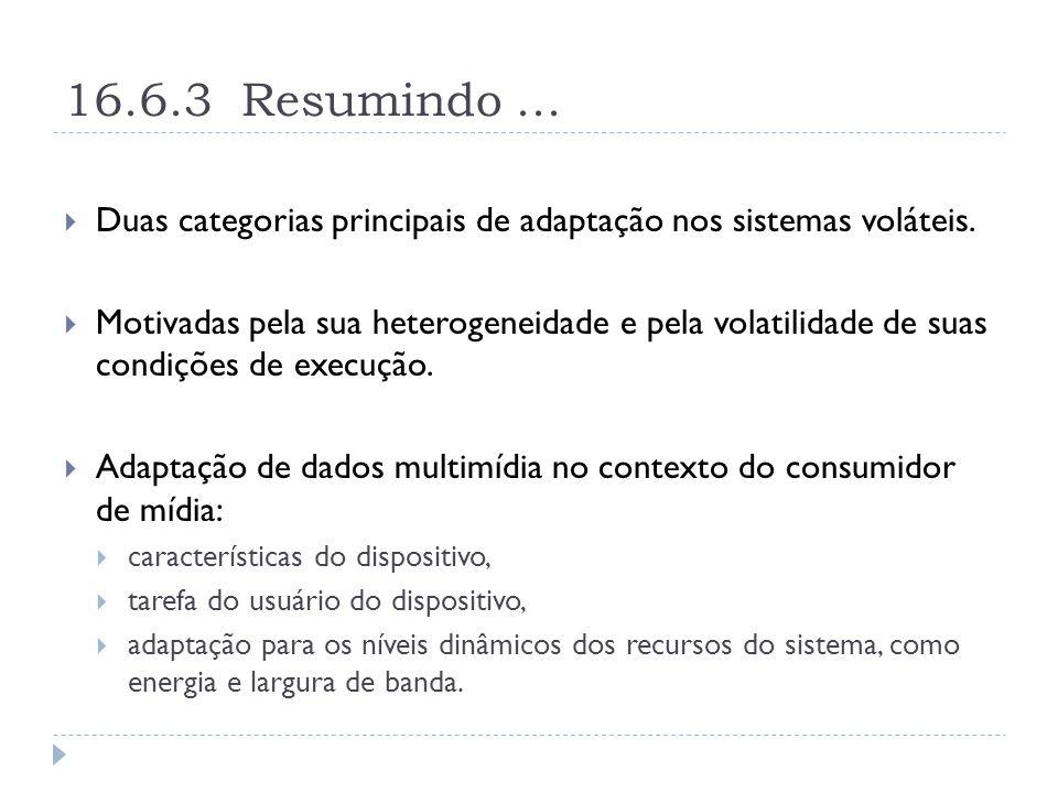 16.6.3 Resumindo...  Duas categorias principais de adaptação nos sistemas voláteis.