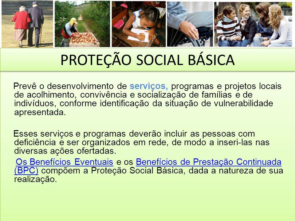 Prevê o desenvolvimento de serviços, programas e projetos locais de acolhimento, convivência e socialização de famílias e de indivíduos, conforme iden