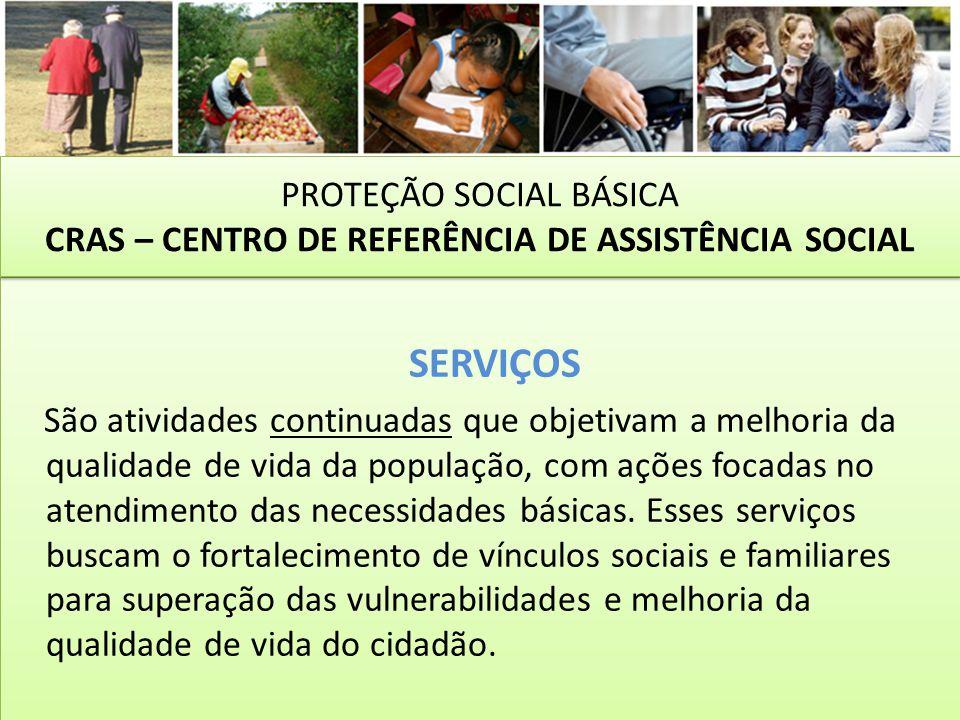 SERVIÇOS São atividades continuadas que objetivam a melhoria da qualidade de vida da população, com ações focadas no atendimento das necessidades bási