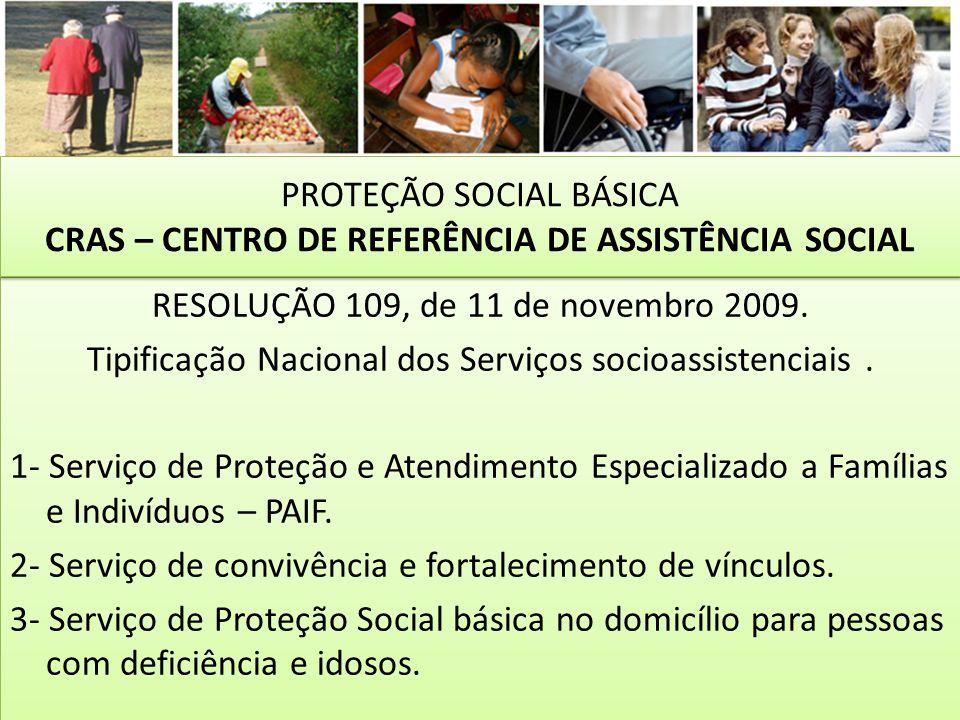 RESOLUÇÃO 109, de 11 de novembro 2009. Tipificação Nacional dos Serviços socioassistenciais. 1- Serviço de Proteção e Atendimento Especializado a Famí
