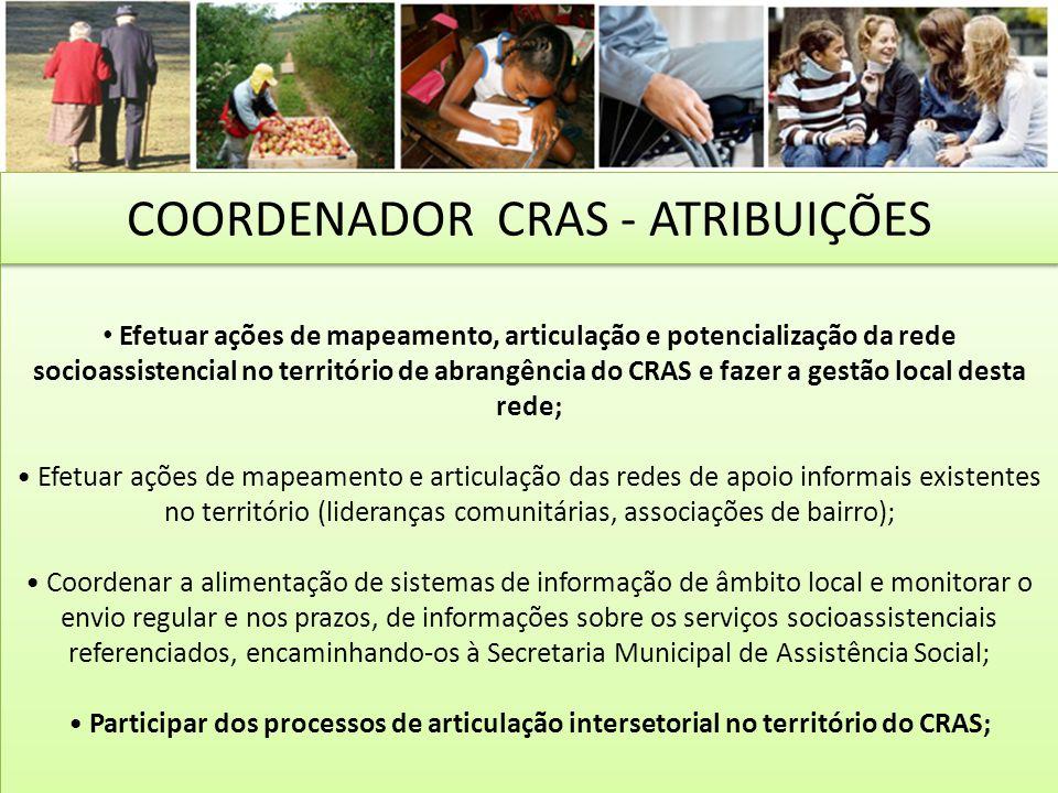Efetuar ações de mapeamento, articulação e potencialização da rede socioassistencial no território de abrangência do CRAS e fazer a gestão local desta