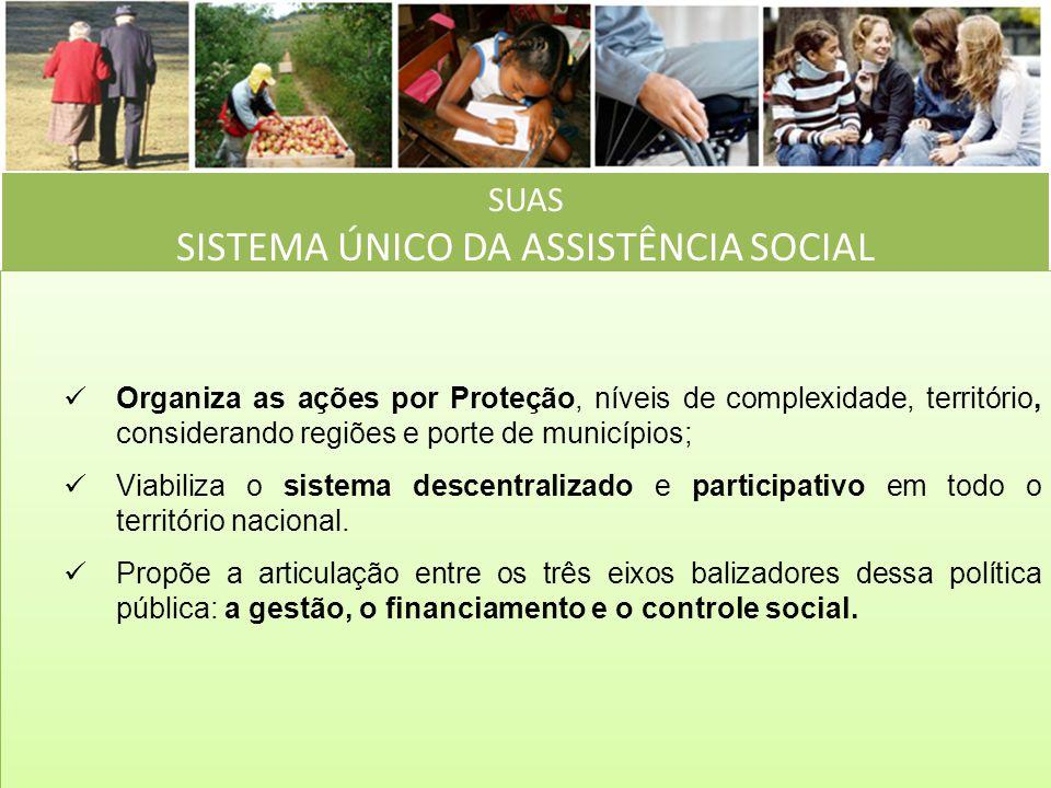 SUAS SISTEMA ÚNICO DA ASSISTÊNCIA SOCIAL Organiza as ações por Proteção, níveis de complexidade, território, considerando regiões e porte de município