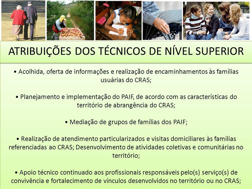Acolhida, oferta de informações e realização de encaminhamentos às famílias usuárias do CRAS; Planejamento e implementação do PAIF, de acordo com as c