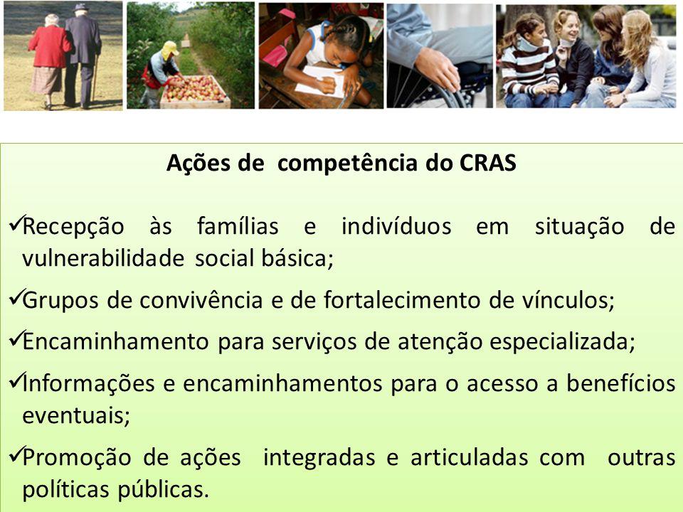 Ações de competência do CRAS Recepção às famílias e indivíduos em situação de vulnerabilidade social básica; Grupos de convivência e de fortalecimento