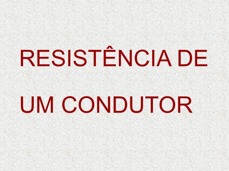 RESISTÊNCIA DE UM CONDUTOR